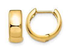14K Yellow Gold Hinged Huggie Hoop Earrings