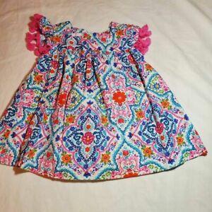 Bonnie Baby Girls A-Line Dress Pink White Floral Tassel 100% Cotton 12 Months