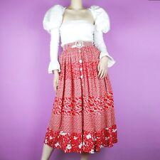 VINTAGE Red White Floral 80s 90s Ditsy Button Pattern Swirl Boho Midi Skirt XS