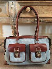 Dooney & Bourke Handbag/Satchel~Lt Blue Brown LeatherTrimW/Registration Card