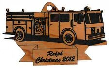 Personalized Fire Truck Wooden Christmas Ornament (FREE SHIPPING)