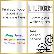 Personalised white square stickers for Invitations and place cards x 50