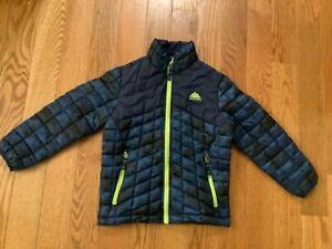 SNOZU Boys  5-6  Blue & Black Quilted Light Weight Zip Jacket w/ Neon Green Trim