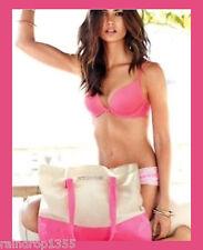 Victorias Secret Large Sexy Summer 2014 Tote Beach Bag Neon Pink Tan Canvas Gym