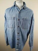 Mens Levis Denim Shirt Light Blue Medium 46 Chest Vgc jeans buttons