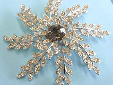 Sarah Coventry Snowflake Flower Leaves Rhinestone Pin Brooch Signed Silver Tone