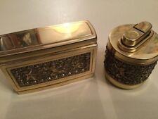 Antikes Raucherset Pfeifenset Feuerzeug und Zigarettenbehälter Engel Messing
