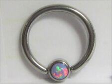 Surgical Steel Light Purple Mauve Opal Solitaire Hoop Ring 14 gauge 14g