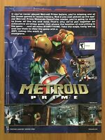 Metroid Prime Gamecube 2004 Vintage Print Ad/Poster Official Samus Promo Art!