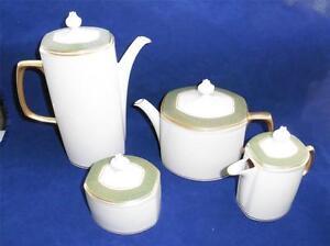 Franciscan RARE Antique Green Teapot Coffee Pot Creamer Sugar Bowl Masterpiece