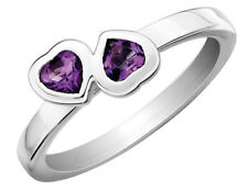 Amethyst Double Heart Ring 2/5 Carat (ctw) in Sterling