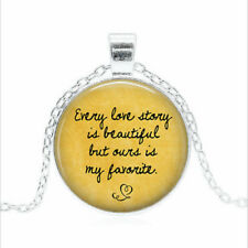 Glass dome Necklace chain Pendant Wholesale Every love story is Tibet silver