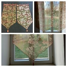 Pair of French Sheer Voile Tab Top Curtains with Tassels (58 x 117cm)