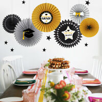 Glitter Black Gold Gray and Silver Paper Fan Kit for Graduation Party Decoration