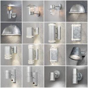 Galvanised Outdoor Wall Lights Modern Silver Weatherproof Contemporary