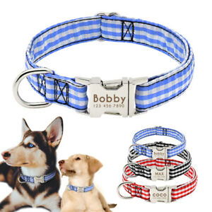 Personalised Dog Collar Small Large Pet Custom Padded Name ID Collar Tags S-L