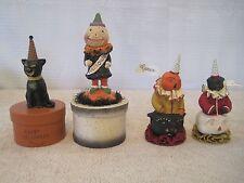 4 Pc Dee Foust Bethany Lowe Halloween Primitive Folk Art Figurines/Trinket Boxes