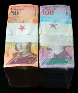 2018 Venezuela $50 & $100 Bolivares Star Replacement 2 Bricks 2000 Pc New SKU312