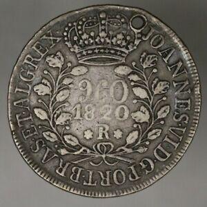 Brazil 1820 R 960 Reis Silver Nice Details   A2752