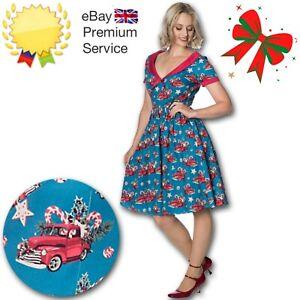 Banned Apparel Retro 50s Rockabilly Christmas Drive Thru Festive Rare Dress