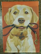 Yellow Labrador Retriever, Lab, Leash, Ready for Walk, decorative Garden flag