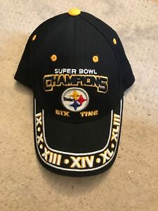 PITTSBURGH STEELERS Team Apparel  6X Time Super Bowl  Champions Cap Hat.. Rare