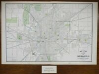 "Vintage 1902 INDIANAPOLIS INDIANA Map 22""x14"" ~ Old Antique BUTLER UNIVERSITY"