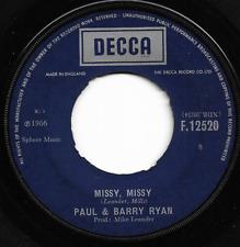 PAUL & BARRY RYAN - MISSY, MISSY / RAINBOW WEATHER - ORIGINAL 60s POP DECCA 1966