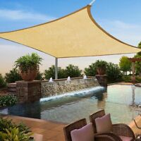 16'x16' Square Desert Sand Sun Shade Sail Outdoor UV Canopy Patio Top Free Rope