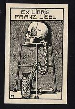 EXLIBRIS,330b -Künstler / Artist C.H. - Tod + Eule , death + owl