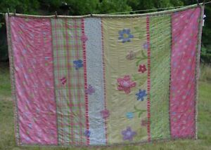 """DYR Do Your Room Quilt   pink green yellow butterflies flowers twin/full 60x87"""""""