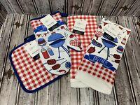 Patriotic Kitchen Towel 4 Pc Set Oven Mitt Pot Holder Grill Cook Out Summer BBQ