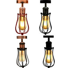 Vintage Retro Industrial Flush Mount  wire cage Ceiling Light lamb Shade E27 UK