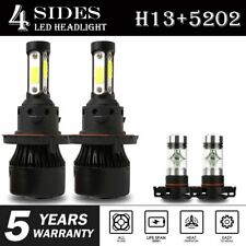 4-Sides Combo H13 9008 5202 2504 PSX24W LED Headlight Bulb HighLo Beam Fog Light