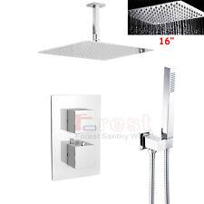 "Bathroom Thermostatic Mixing Mixer Valve 16"" Rain Fall Shower Head Faucet Set"