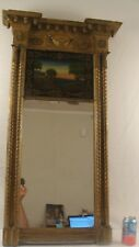 Antique 1830 Federal Gilt Wood Reverse Painted  Sunset Wall Mirror