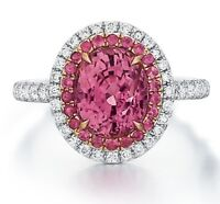 5ct Oval Cut Pink Sapphire Cocktail Halo Engagement Ring 14k White Gold Finish