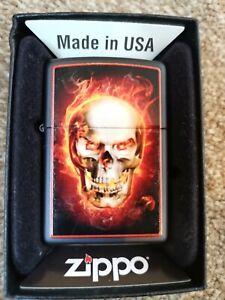 Zippo lighter genuine burning skull
