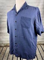 TOMMY BAHAMA Camp Shirt 100% Silk Short Sleeve Blue Mens Size Large
