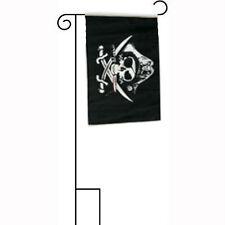 "12x18 12""x18"" Jolly Roger Pirate Deadman's Chest Sleeved w/ Garden Stand Flag"