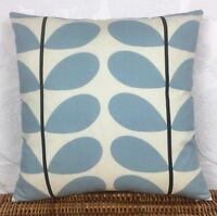 """Cushion Cover made with Orla Kiely Two Stem Powder Blue 18""""x18"""" Offwhite Backing"""