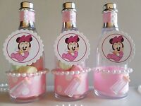 12 Minnie Mouse Fillable Champagne Bottles Baby Shower Favors Game Birthday Girl