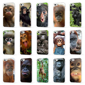 MONKEY GORILLA CUTE BABY ANIMALS WHITE PHONE CASE COVER for iPHONE 4 5 6 7 8 X