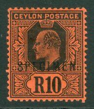 More details for sg 300 ceylon 1910. 10r black/red, overprinted specimen. a fine lightly...