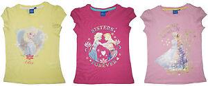 Mädchen T-Shirt Kurzarm die Eiskönigin Disney Elsa Anna Frozen Gelb, Rosa, Pink