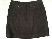 JIGSAW - BROWN CORDUROY A-LINE SKIRT WITH FRONT FAUX POCKETS & TWO SIDE ONES -12