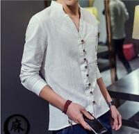 L Men's Shirts Loose Cotton Fabric Linen V-neck Buttons Long Sleeve Casual Shirt