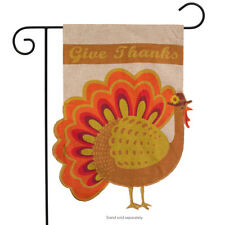 "Give Thanks Turkey Burlap Garden Flag Thanksgiving 12.5"" x 18"" Briarwood Lane"