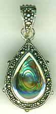 Sterling Silver Abalone & Marcasite Double Sided Teardrop Pendant  35mm X 17mm