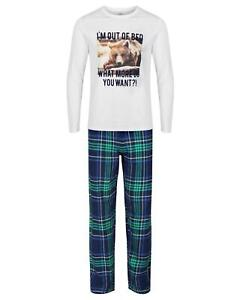 "Mens 100% Cotton Lounge Wear Check ""I'm Out Of Bed"" Long Sleeve Pyjamas"